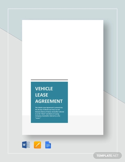 vehicle lease agreement template