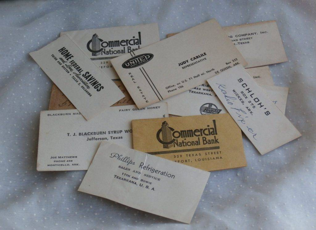 very vintage collection of business card and envelope example
