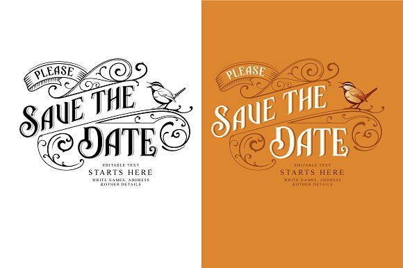 vintage birthday save the date design example