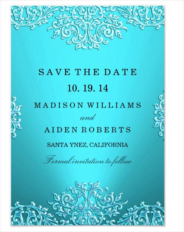 vintage damask wedding save the date card
