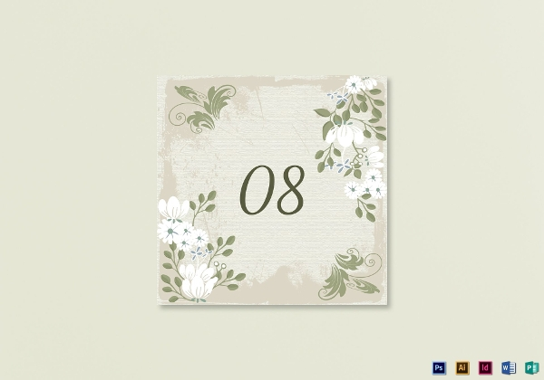 vintage floral table card example
