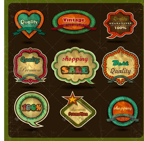 vintage labels in psd