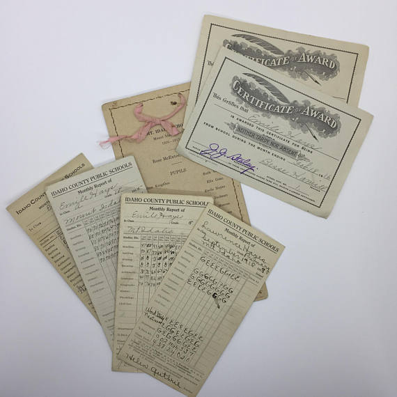 vintage report cards and awards example