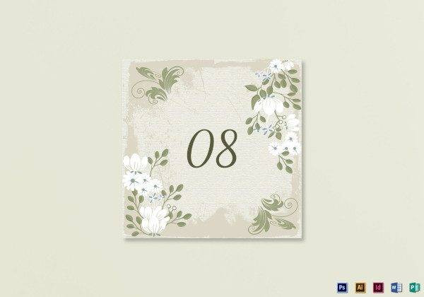 vintage table card template1