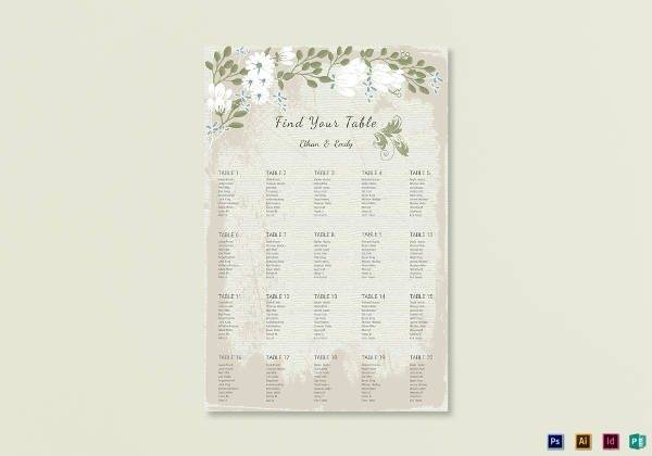 vintage wedding seating chart example1