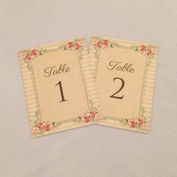 vintage wedding table card example1
