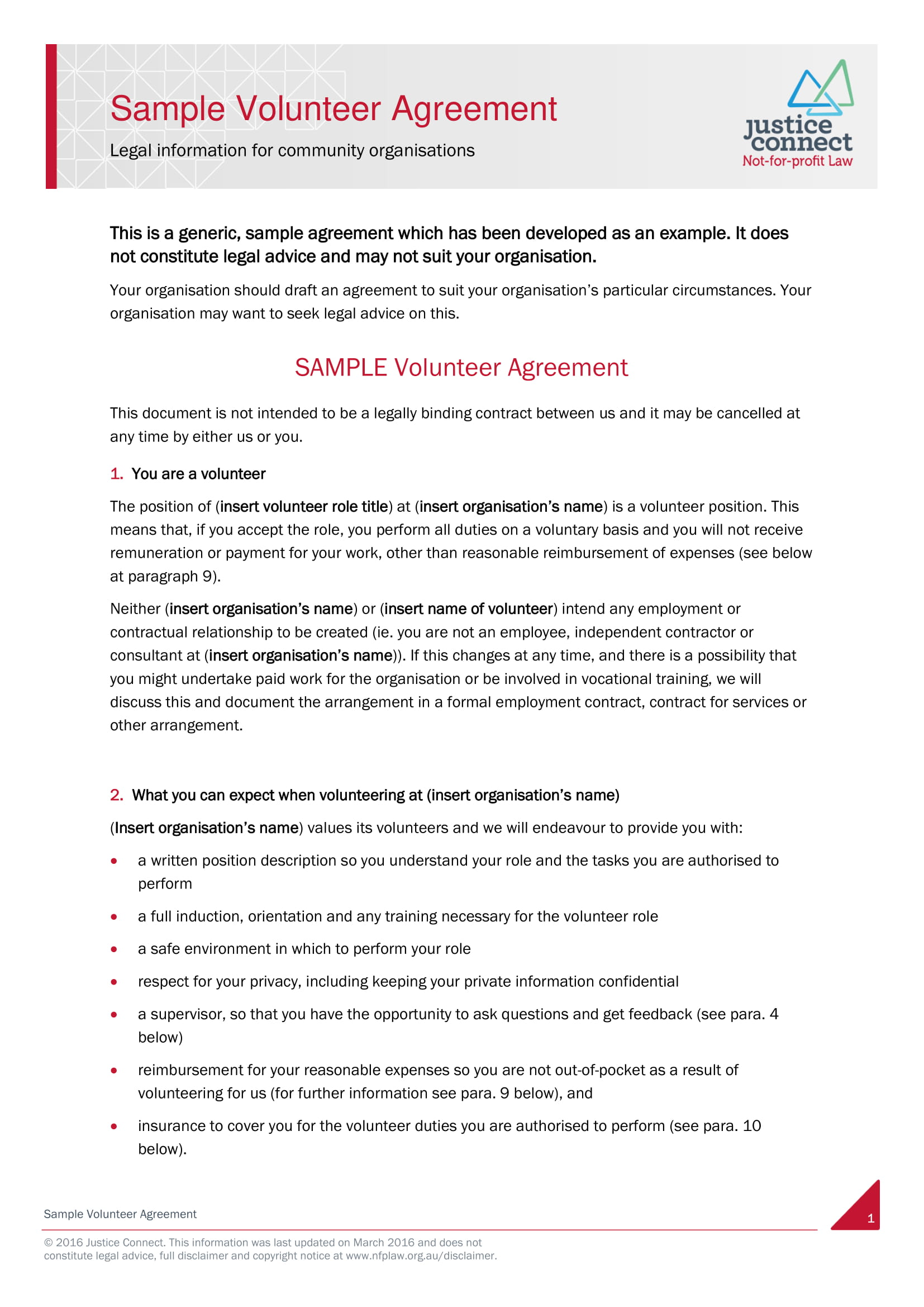 volunteer agreement example