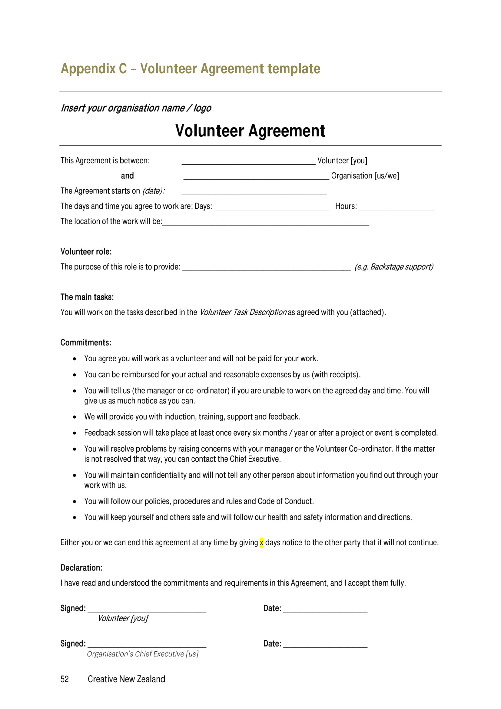 volunteer agreement template example