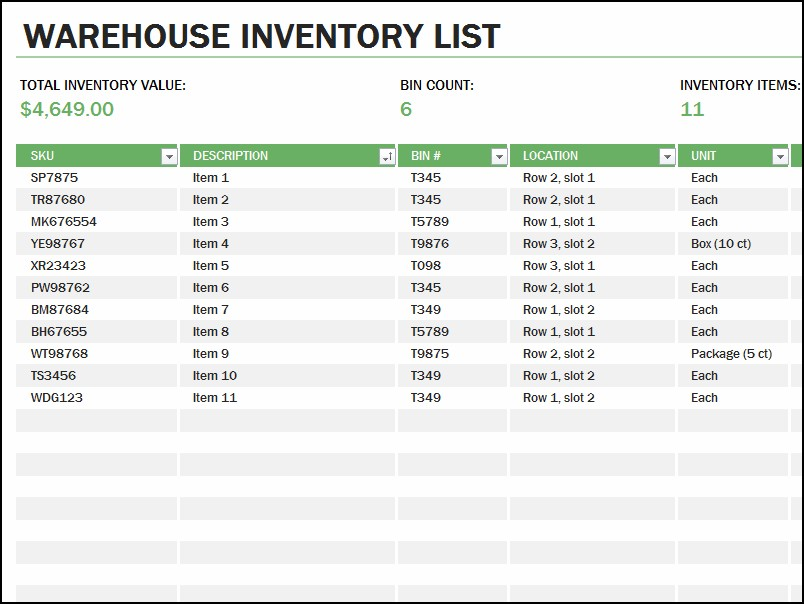 10 inventory list examples pdf