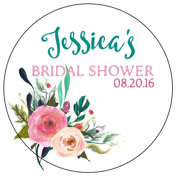 watercolor flower bridal shower label example