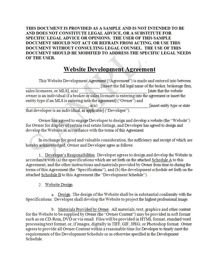 website development agreement example