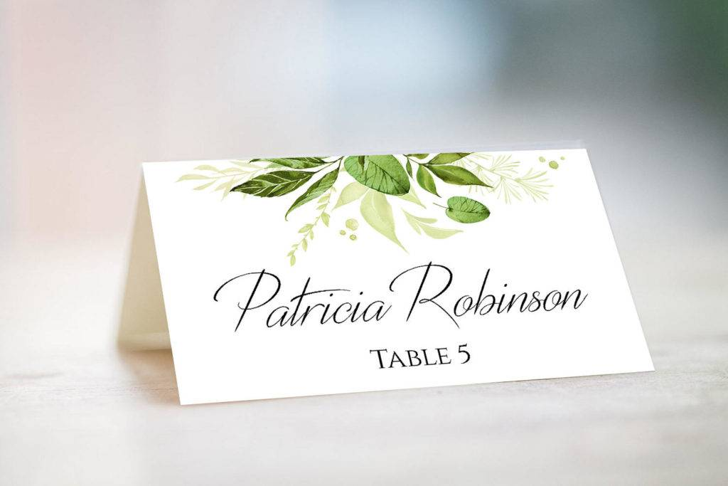 wedding greenery table card name example