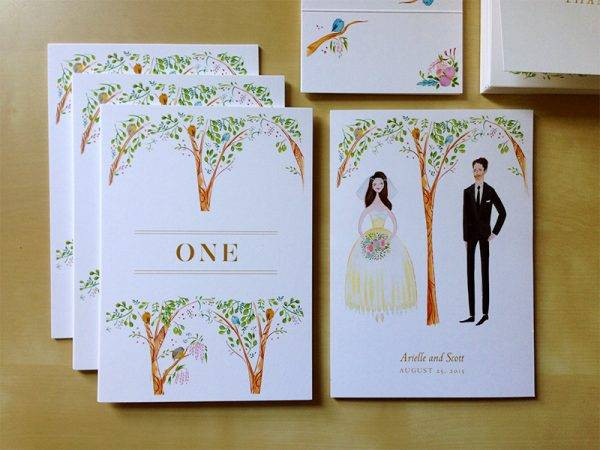 wedding table card examples