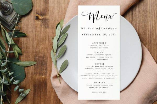 wedding table menu card example2