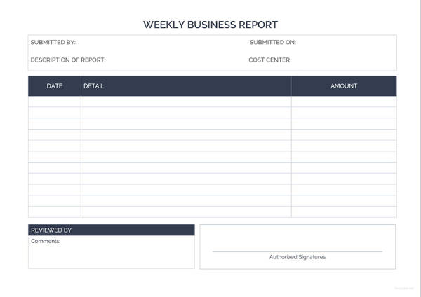 weekly business report example