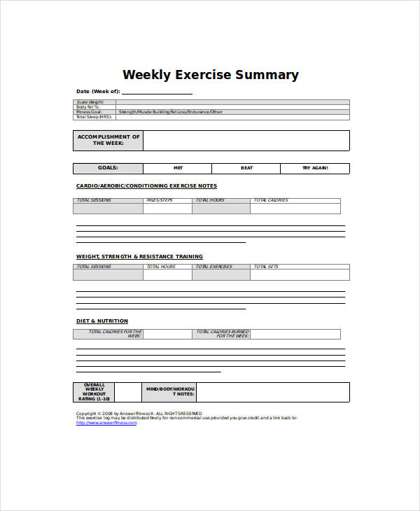 weekly exercise summary