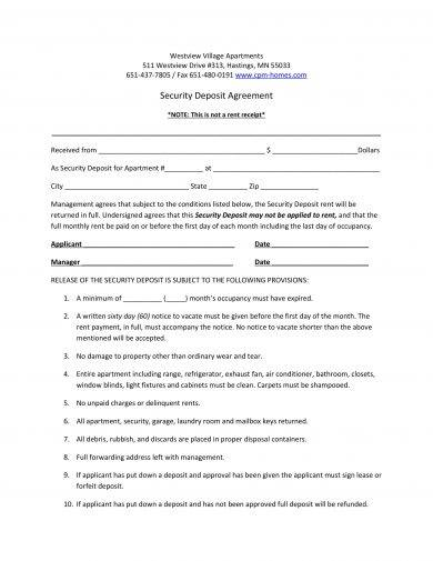 11 Security Deposit Agreement Examples Pdf Word Examples