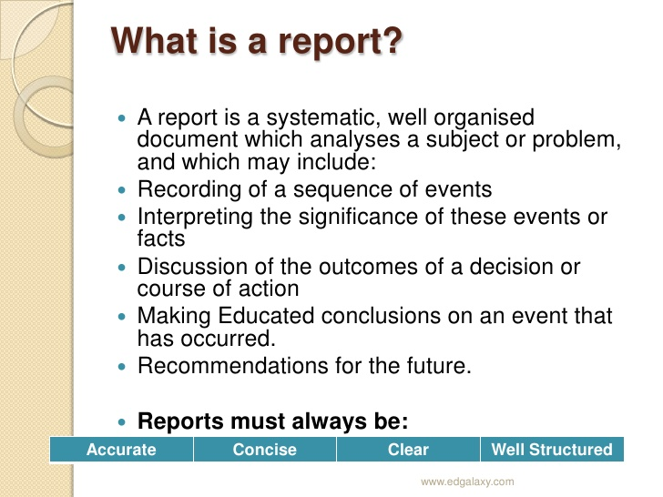 what is a report with definitions