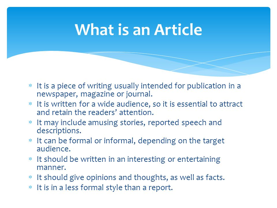 19+ Article Writing Examples - PDF