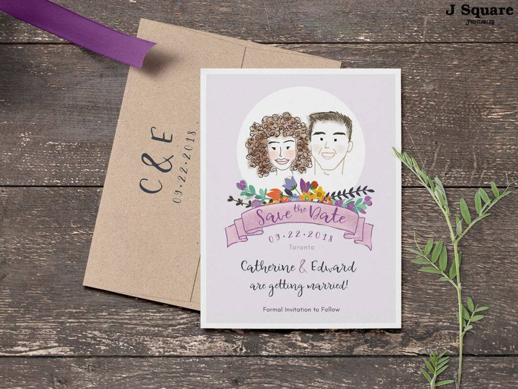 whimsical illustrated wedding announcement example 1024x768