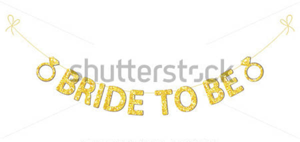 white and gold bridal shower banner example