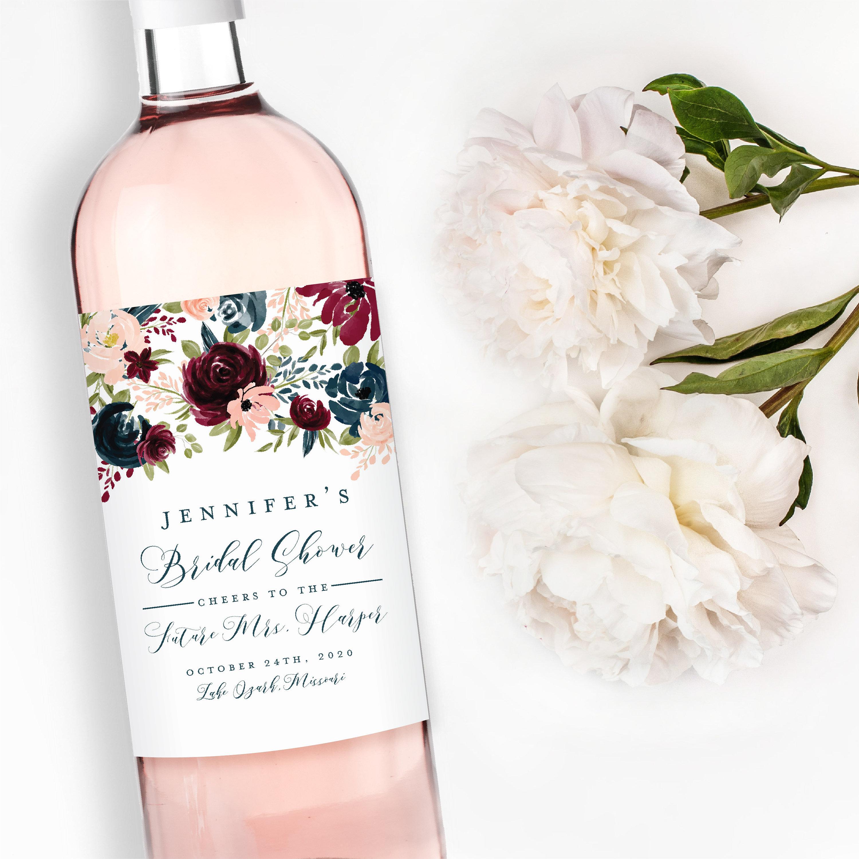 wine bridal shower label example