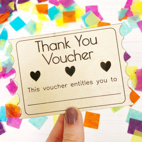 wooden card thank you voucher example