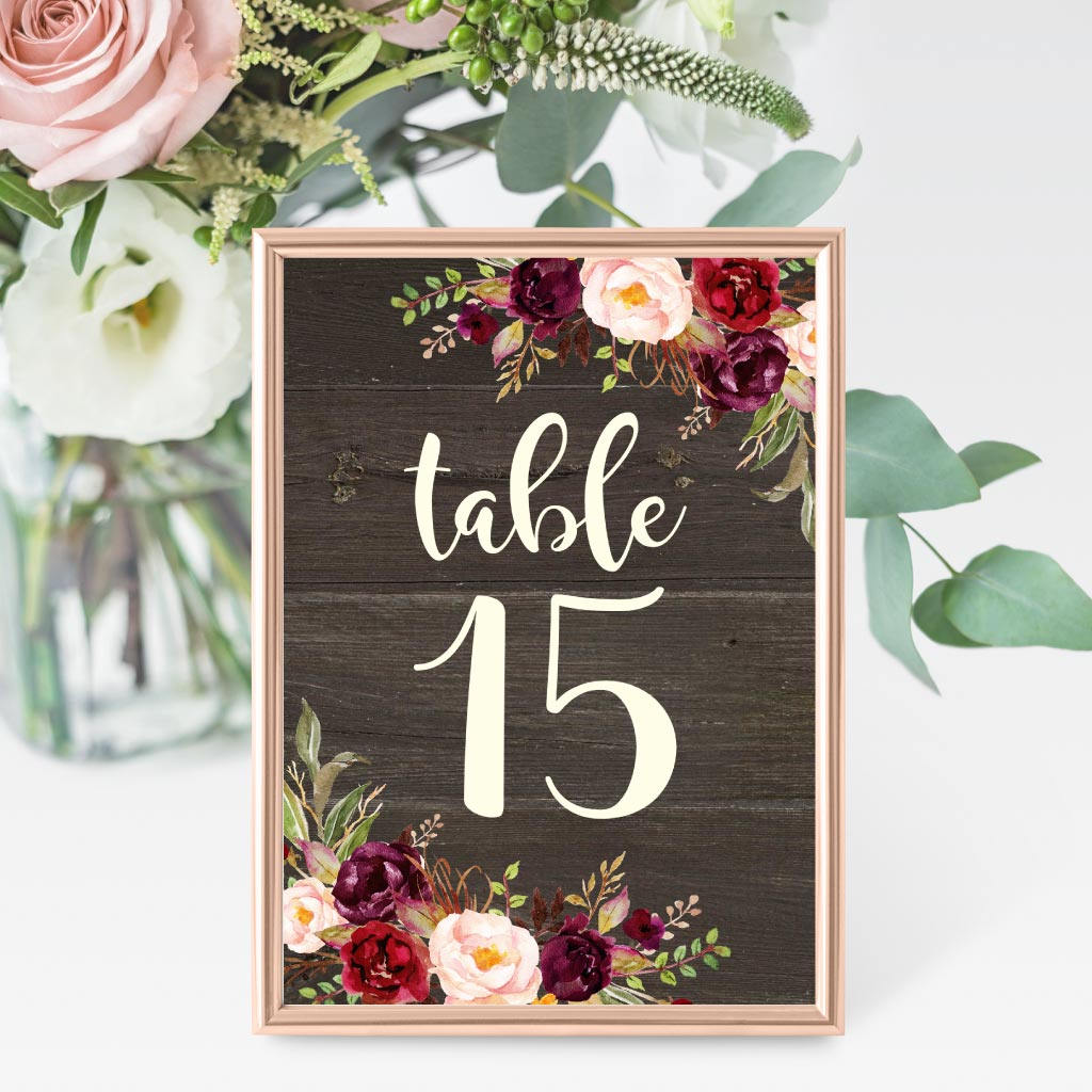 wooden floral wedding table card example
