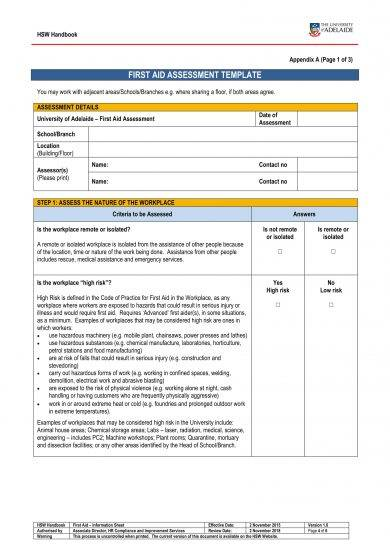 workplace first aid assessment template example