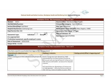 workplace stress risk assessment form template example