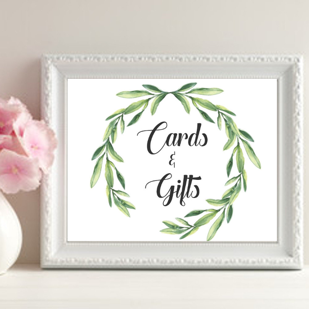 wreath gift table card template example