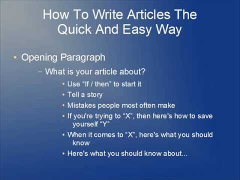 writing articles the quick and easy way
