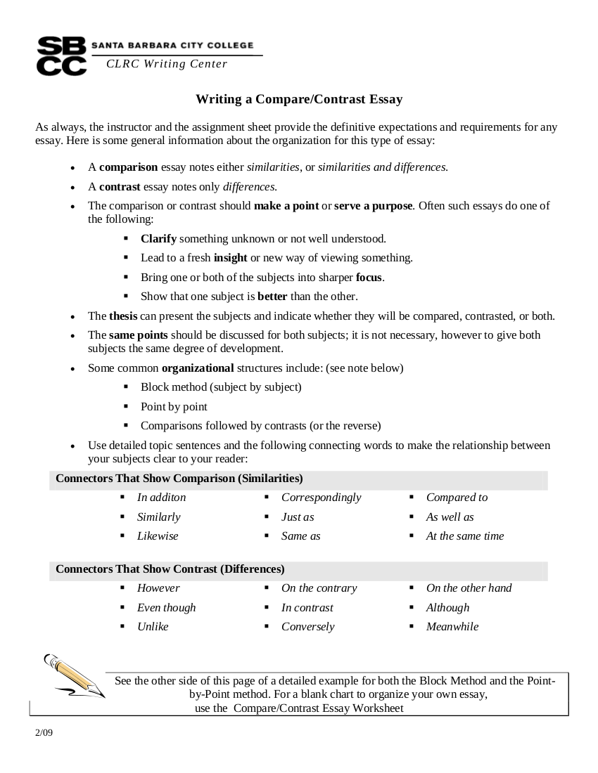 writing a compare and contrast essay