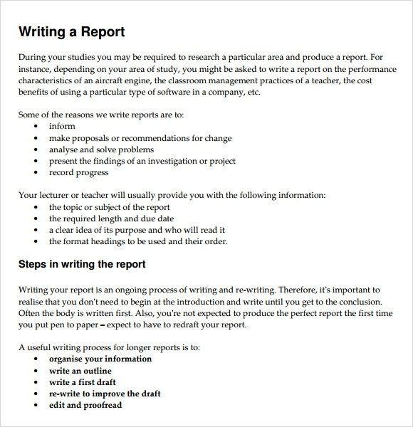 report writing example for students