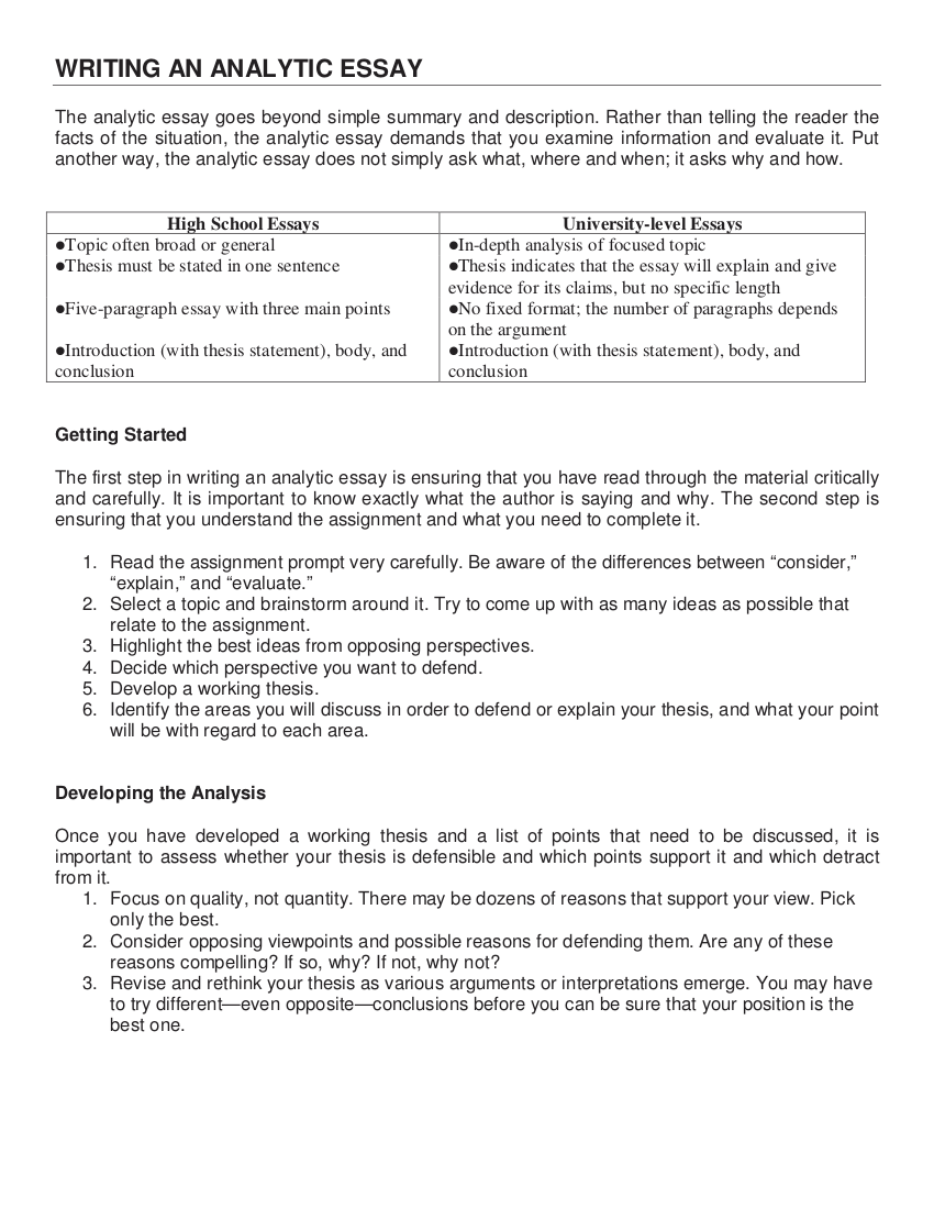Essay Writing Examples In Pdf  Examples Writing An Analytical Essay