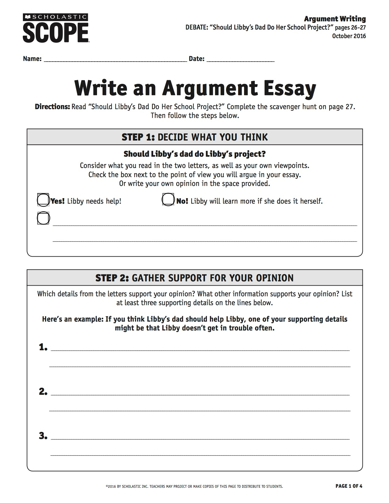 writing a debate essay