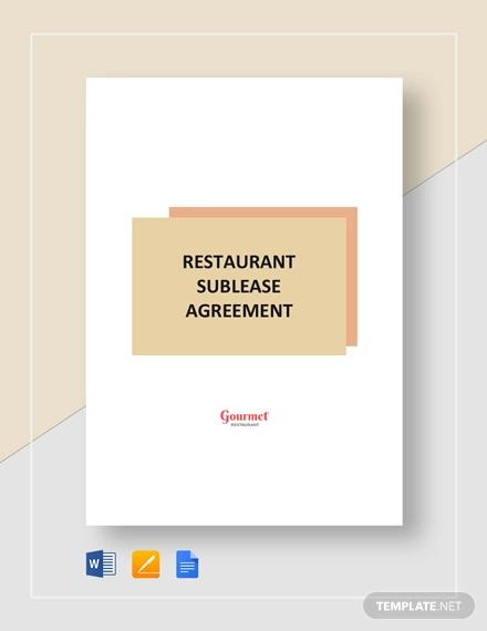 restaurant sublease