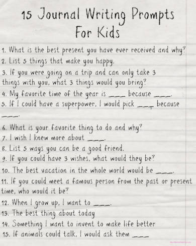 15 journal writing prompts for kids