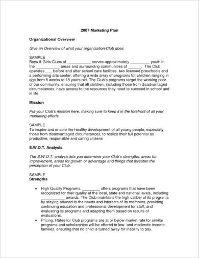 2007 marketing plan example