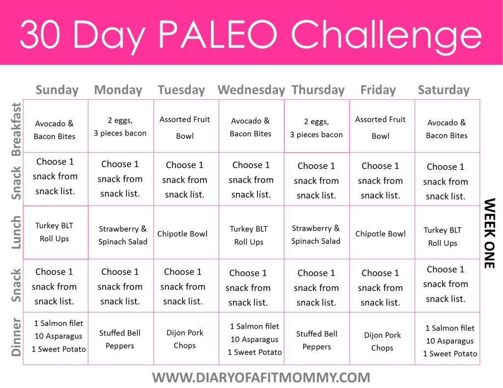 30 day paleo meal plan example