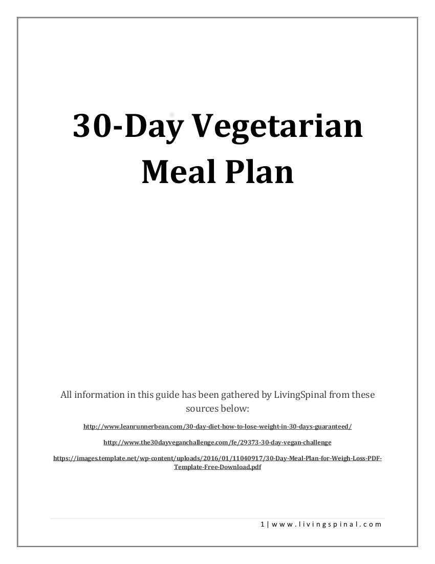 30 day vegetarian meal plan example