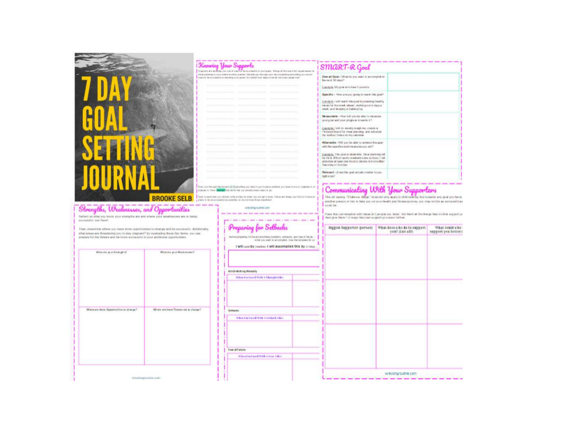 7 day goal setting journal example