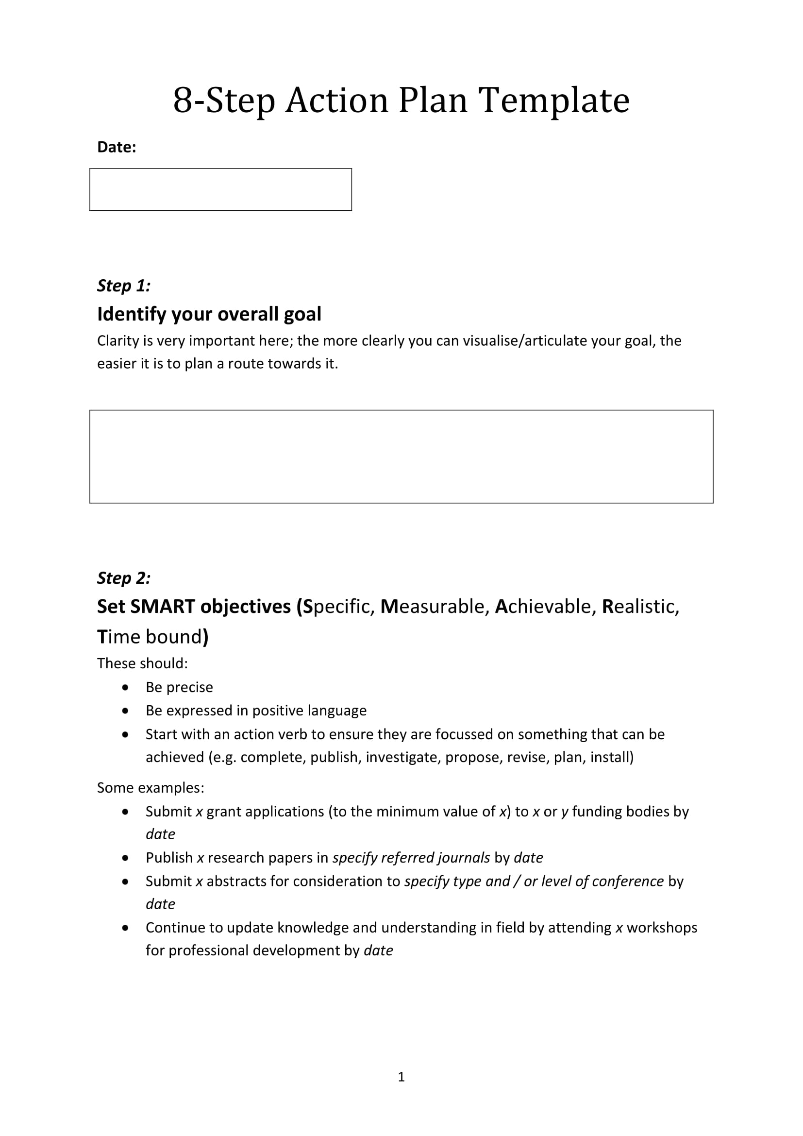 8 step action plan template for business activities example 1