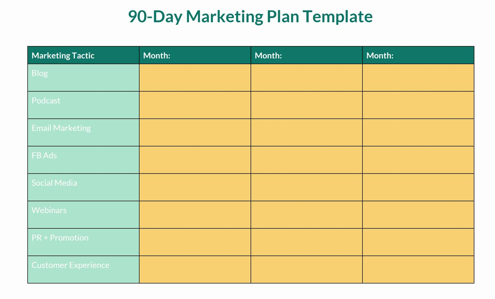 90 day ecommerce marketing plan example