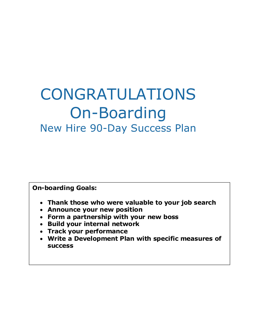 90 day on boarding success plan