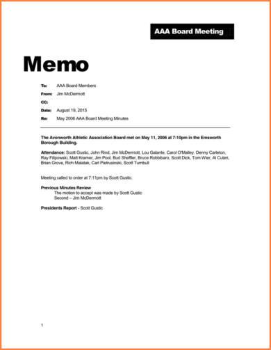 aaa board meeting memo example 3