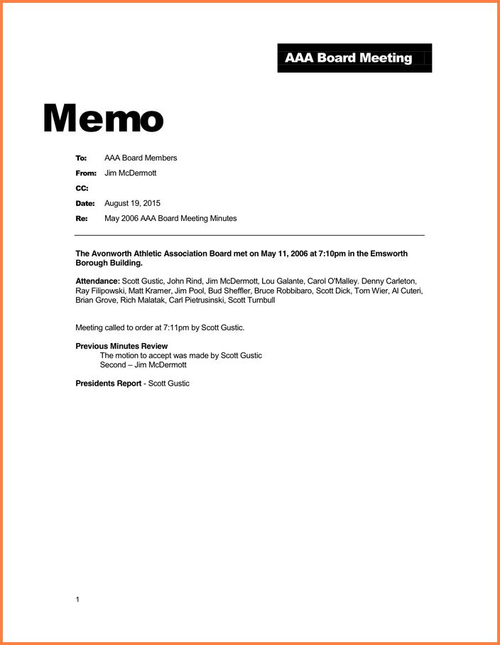 aaa board meeting memo example