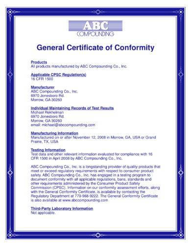 abc compounding general certificate of conformity example1