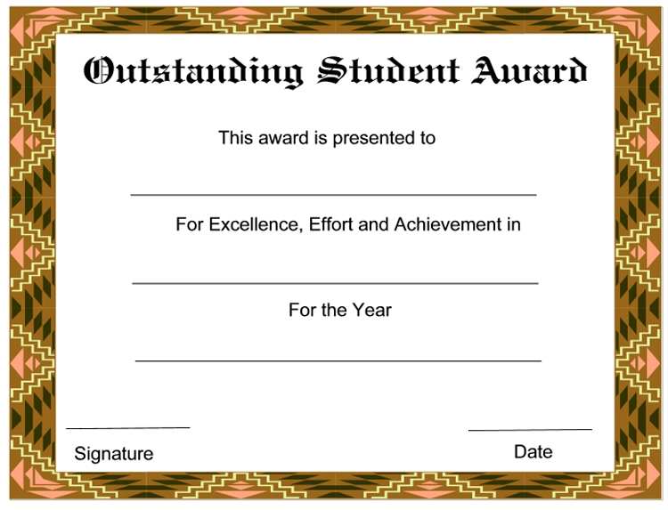 abstract border student award certificate example