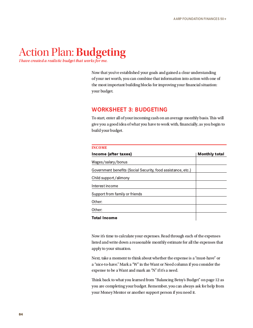 action plan on budgeting